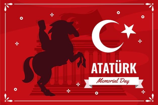 Fond de jour commémoratif d'ataturk plat dessiné à la main