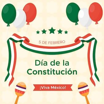 Fond de jour de constitution design plat mexique