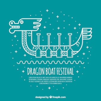 Fond de jour du bateau dragon en style linéaire