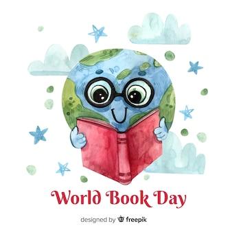 Fond de jour du livre monde aquarelle