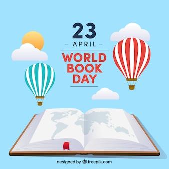 Fond de jour du livre mondial avec ciel dans le style plat
