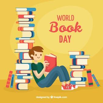 Fond de jour du livre mondial avec homme de lecture