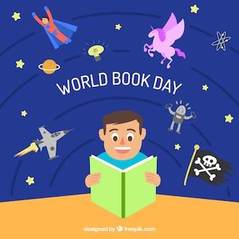 Fond de jour du livre mondial en syle plat