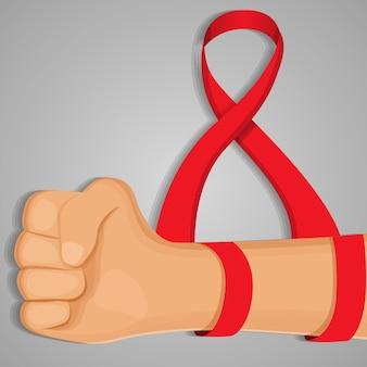 Fond de jour du sida à la main, style cartoon