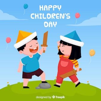 Fond de jour des enfants dessinés à la main