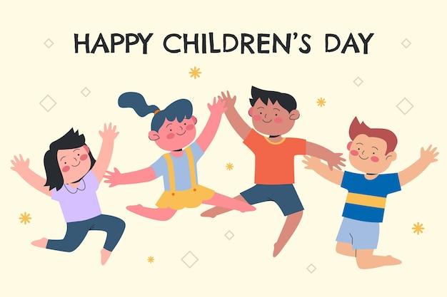 Fond de jour des enfants du monde plat dessiné à la main