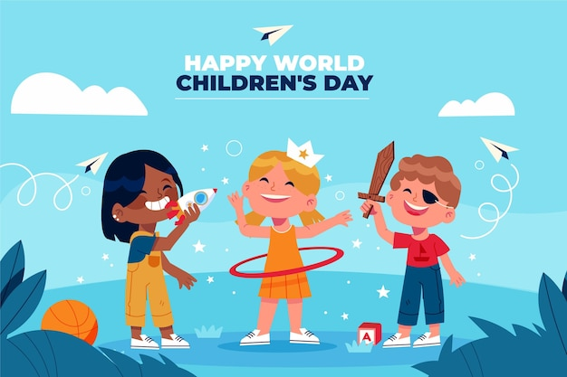 Fond De Jour Des Enfants Du Monde Plat Dessiné à La Main Vecteur gratuit