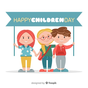 Fond de jour des enfants heureux au design plat