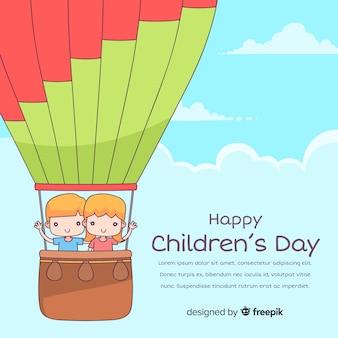 Fond de jour des enfants heureux dans le style dessiné à la main