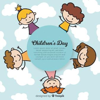 Fond de jour des enfants heureux en style dessiné à la main