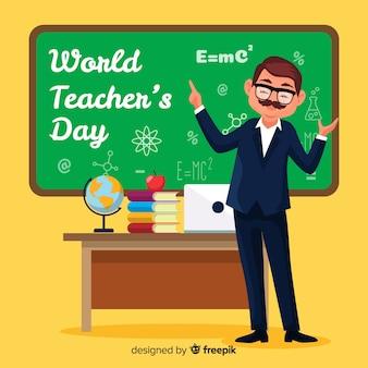 Fond de jour de l'enseignant du monde design plat