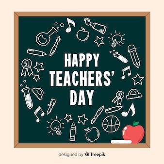 Fond de jour des enseignants dessinés à la main