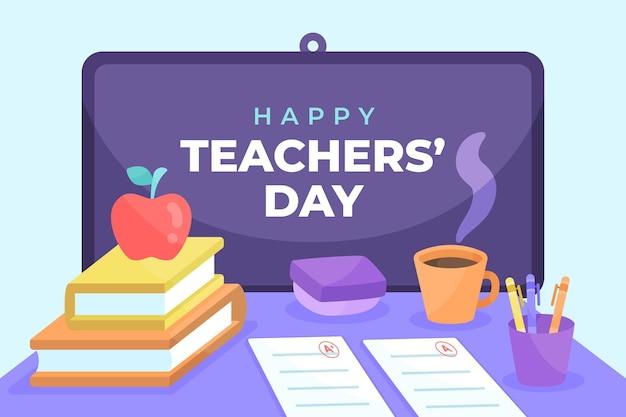 Fond de jour des enseignants plats dessinés à la main avec bureau et café