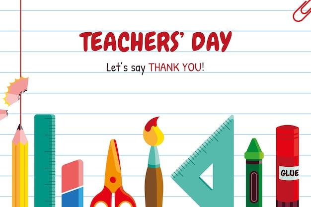 Fond de jour des enseignants plats dessinés à la main