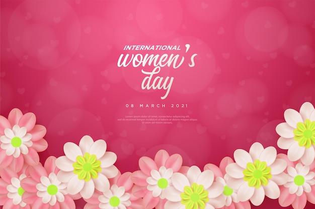 Fond de jour de la femme avec de belles fleurs.