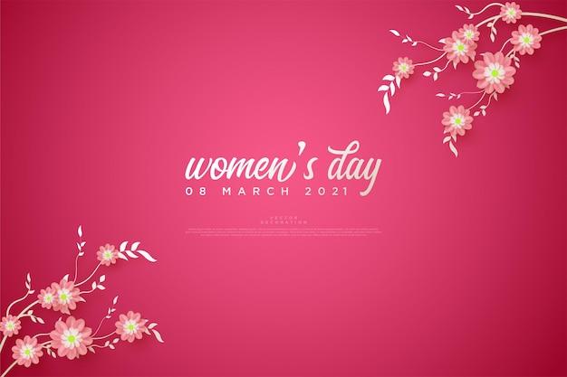Fond de jour de la femme avec des feuilles et des tiges en haut et en bas.