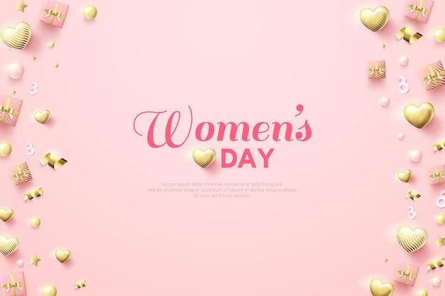 Fond de jour de la femme avec illustration de petit coffret cadeau et ballons d'amour dorés.