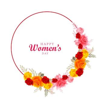 Fond de jour de femmes avec conception de cartes de cadre de fleurs
