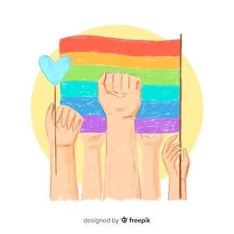 Fond de jour de fierté dessiné à la main