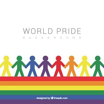 Fond de jour de fierté avec des silhouettes de couleurs