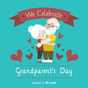 Fond de jour des grands-parents avec des coeurs