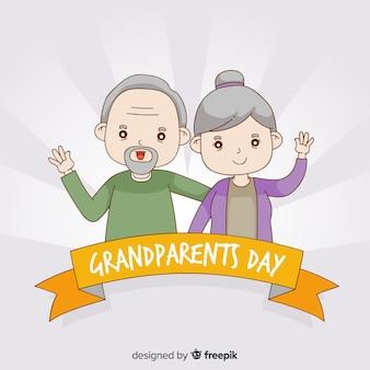 Fond de jour des grands-parents dessinés à la main mignon