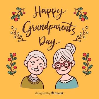 Fond de jour des grands-parents dessinés à la main