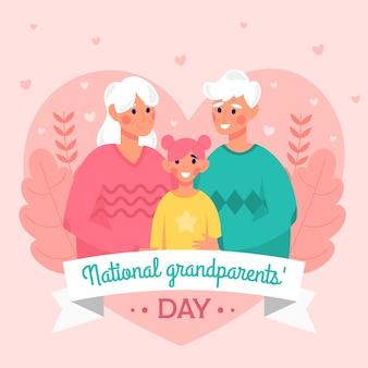 Fond de jour des grands-parents nationaux design plat avec petite-fille