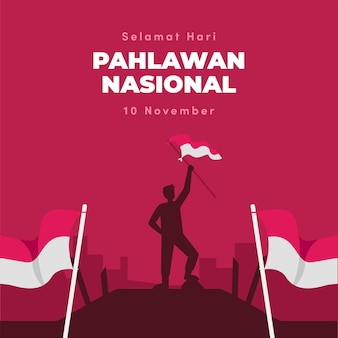 Fond de jour des héros de pahlawan design plat avec homme et drapeau