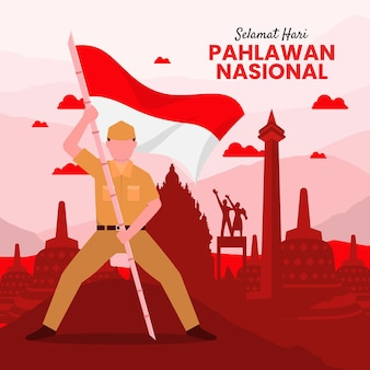 Fond de jour des héros de pahlawan avec un soldat tenant un drapeau