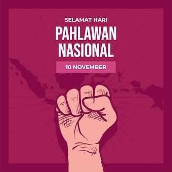 Fond de jour des héros pahlawan vintage avec poing