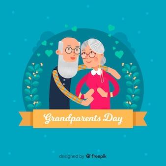 Fond de jour heureux grands-parents en design plat