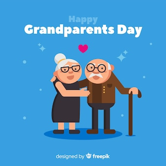 Fond de jour heureux grands-parents en design plat