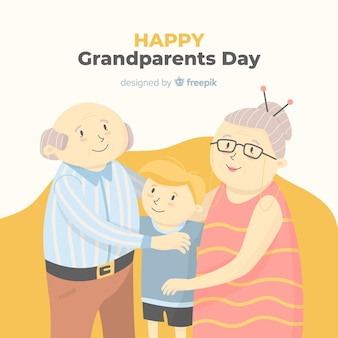 Fond de jour heureux grands-parents dessinés à la main
