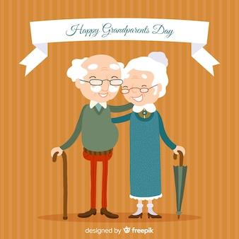 Fond de jour heureux grands-parents dessinés à la main