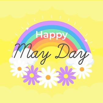 Fond de jour heureux mai avec fleurs et arc-en-ciel