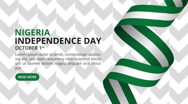 Fond de jour de l'indépendance du nigeria avec motif et drapeau roulé