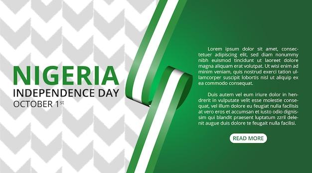 Fond de jour de l'indépendance du nigeria avec ruban de drapeau