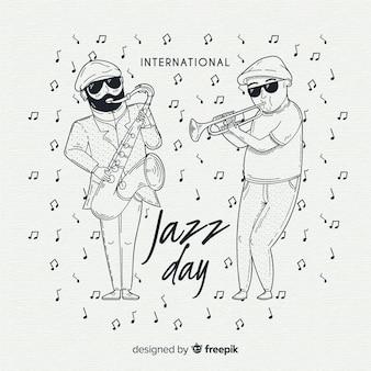 Fond de jour de jazz international dessiné à la main