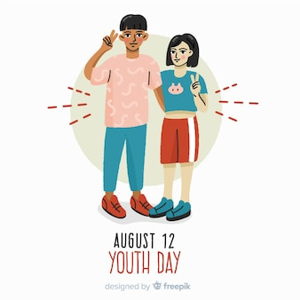 Fond de jour de la jeunesse design dessiné à la main