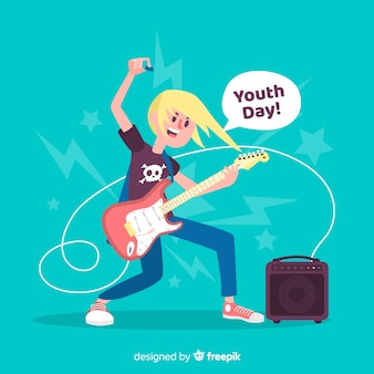 Fond de jour de la jeunesse design plat