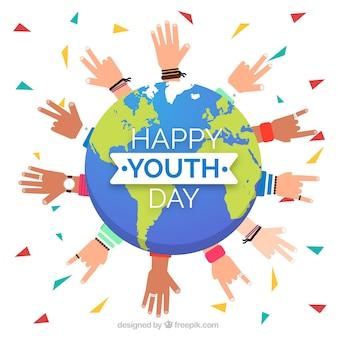Fond de jour de la jeunesse avec globe