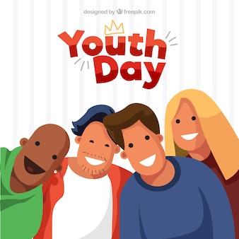 Fond de jour de la jeunesse avec des personnes heureuses