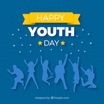 Fond de jour de la jeunesse avec des silhouettes bleues