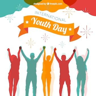 Fond de jour de la jeunesse avec des silhouettes colorées