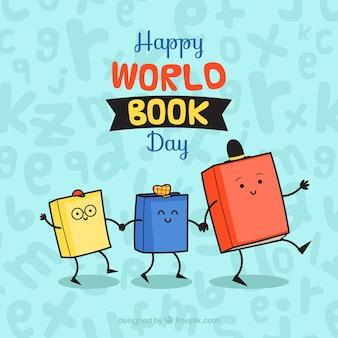 Fond de jour de livre du monde heureux avec des livres animés mignons