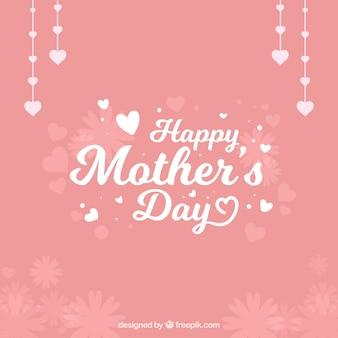 Le fond de jour de la mère jolie avec des coeurs et des fleurs décoratives