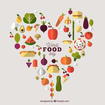 Fond de jour de la nourriture avec le design du coeur