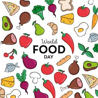 Fond de jour de la nourriture mondiale dessiné à la main
