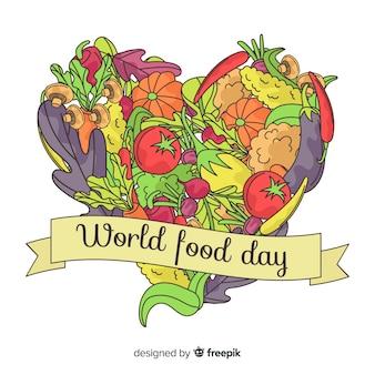 Fond de jour de la nourriture mondiale dessinée à la main